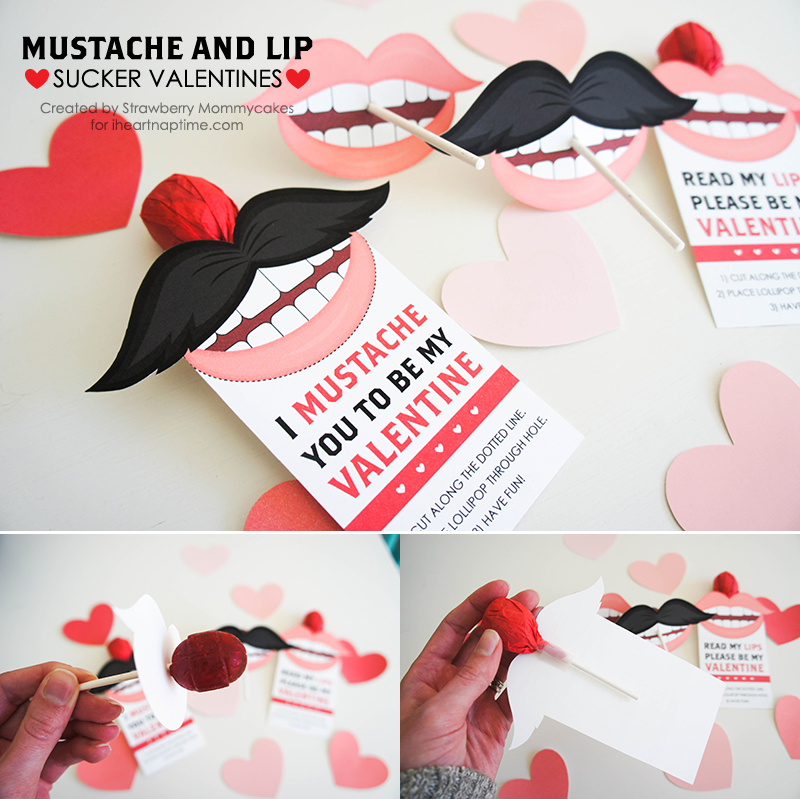 Mustache and Lips Valentines from I Heart Naptime // Valentines roundup on ordinaryawesome.com